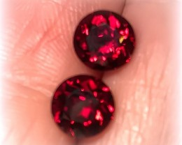 Superb Ruby Red Crimson Umbalite Garnet Pair 6.70mm each