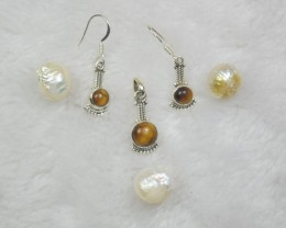 NATURAL UNTREATED TIGER EYE EARRINGS 925 STERLING SILVER JE716