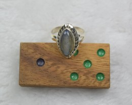 NATURAL UNTREATED LABRADORITE RING 925 STERLING SILVER JE717