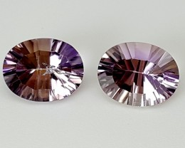 3.70 cts BOLIVIA AMETRINE FANCY PAIR Best Grade Gemstones JI14
