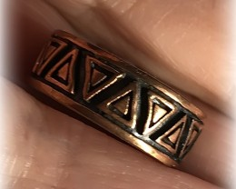 Size 6 Brand New Solid Copper Tribal Ring Band No Reserve
