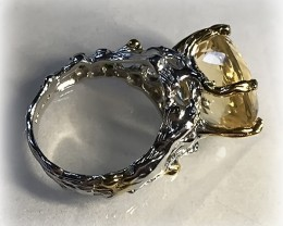 Citrine Chrome Diopside Ring Size 8.5 .925 Sterling Silver with 14kt Gold