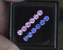 SUITE of 2.06CT 3.5mm Matching Round Brilliant Cut Pink & Blue Sapp