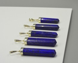 5 PCS OF AMAZING LAPIS PENDENTS WITH SILVER
