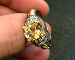 27.5ct Yellow Citrine 925 Sterling Silver Ring US 7.75