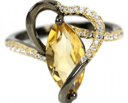 19ct Yellow Citrine 925 Sterling Silver Ring US 8