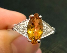 12.5ct Yellow Citrine 925 Sterling Silver Ring US 9