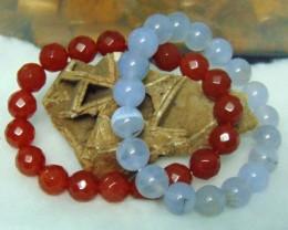 Blue Lace Agate  10 MM Bracelet Faceted Carnelian Stone Bracelet 10 MM