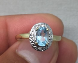 (B1) Beautiful Nat. 0.80ct  Blue Topaz &Diamond Ring 10k YG 1.3gr