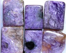 68 CTS PURPLE CHAROITE 6 RECTANGLE STONES  ADG-374