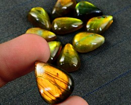 Genuine 135.00 Cts Golden Flash Labradorite Pear Shape Gem Lot