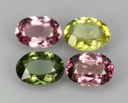 3.50 CTS SPARKLING NATURAL RARE OVAL FANCY TOURMALINE ~ 4 PCS NR☆