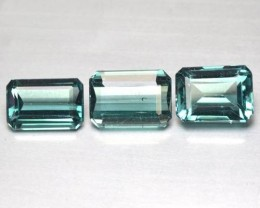 3.52 Cts Natural Bluish Green Tourmaline 3 Pcs Octagon Cut Mozambique