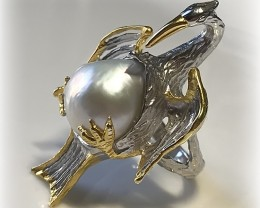 Baroque Pearl Stork Large Ring Size 10 Gold over Sterling Silver