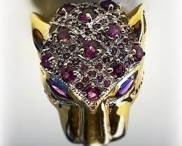 Majestic Rhodolite Garnet Amethyst 14kt Gold over .925 Sterling Silver Ring