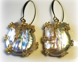 Huge Baroque Pearl 14ct Yellow Gold over Sterling Silver .925 Earrings