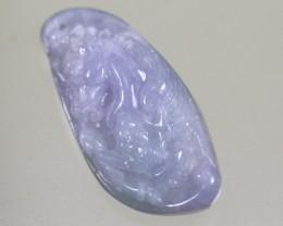 67.0Ct Natural Grade A Horse  Carving Violet Jadeite Jade Pendant