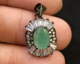 13.13ct Green Emerald 925 Sterling Silver Pendant