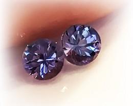 Beautiful Violet Blue Natural Tanzanite Pair Sparkling Stones VVS