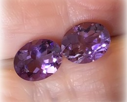 10 x 8.0mm Violet Pink Purple Amethyst Pair VVS gems