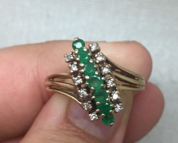 (LBA) Superb $1200 Nat  0.45tcw Estate Emerald And Diamond Ring 10K YG 3.5g
