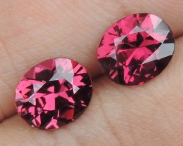 3.25cts Rhodolite Pair,  Open Color,  Precision Cut, Clean, Untreated