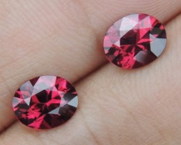 3.35cts Rhodolite Pair,  Open Color,  Precision Cut, Clean, Untreated