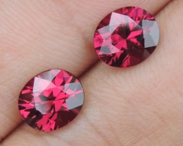 3.96cts Rhodolite Pair,  Open Color,  Precision Cut, Clean, Untreated