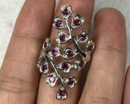 27ct Rhodolite Garnet Sterling 925 Silver Ring US 9