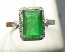 1.40ct Beautiful Diamond Ring Set With Colombian Emerald , 14KT solid White