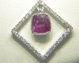 1.64ct Diamond Pendant Set with  Ruby, 14kt White Gold
