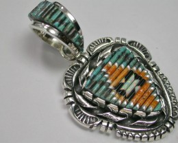 TURQUOISE PENDANT MATCHSTICK INLAY DF-7