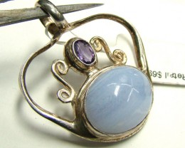 BLUE LACE AGATE AND AMETHYST PENDANT 39CTS DF-95