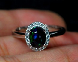 13.9cts Smoked Black Opal 925 Sterling Silver Ring US 6.5