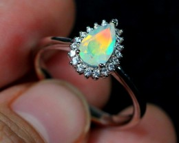 13.8ct Faceted Welo Opal 925 Sterling Silver Ring US 6.75