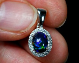 6.3ct Black Smoked Opal 925 Sterling Silver Pendant