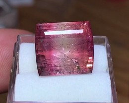 10.80 cts Pink Watermelon  Tourmaline - Fuschia Bicolor - Fancy Cut