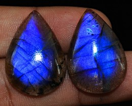 Genuine 55.00 Cts Blue Flash Labradorite Pear Shape Gem Pair