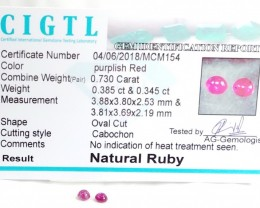 Certified CIGTL | 0.730  Ct| Museum Grade | Red Ruby Cabochon Pair