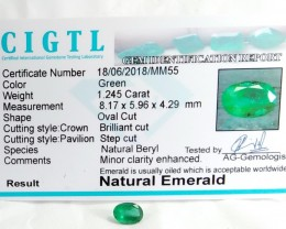 Certified|CIGTL~1.245 Cts Museum Grade Green color Emerald Gems