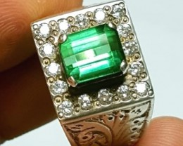 Lovely Green Tourmaline Set in Handcrafted Silver