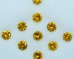 1.05 Cts Natural Sparking Yellow Diamond Round Parcel Africa