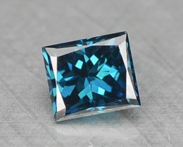 NATURAL FANCY BLUE DIAMOND PRINCESS CUT AFRICA - 0.16 Cts