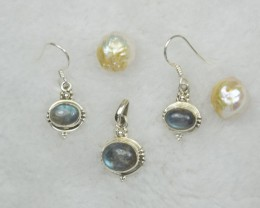 NATURAL UNTREATED  LABRADORITE PENDANT EARRINGS 925 STERLING SILVER JE809