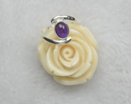 NATURAL UNTREATED AMETHYST RING 925 STERLING SILVER JE820