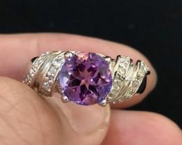 25ct Purple Amethyst 925 Sterling Silver Ring US 7.75