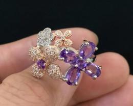 23ct Purple Amethyst 925 Sterling Silver Ring US 9