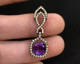 14ct Purple Amethyst 925 Sterling Silver Pendant