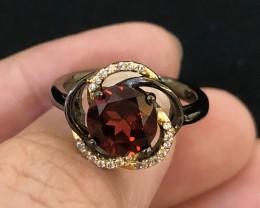 20.5ct Orange Garnet 925 Sterling Silver Ring US 6.75