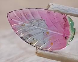 3.30 Ct Natural Bi Color Transparent Tourmaline Leaf Carving
